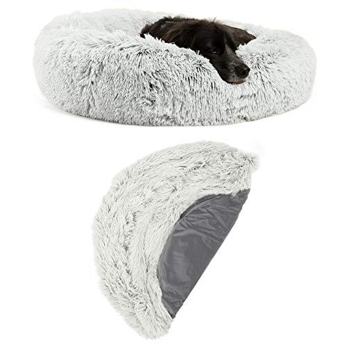 """Best Friends by Sheri Bundle Savings – The Original Calming Shag Donut Cuddler Dog Bed in Medium 30"""" x 30″ and Additional Zippered Shell Cover, Self-Warming Machine Washable, Frost"""