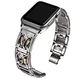 VIQIV Bling Bands for Compatible with Apple Watch 40mm 44mm 38mm 42mm Iwatch Series 5/4/3/2/1, Rhinestone Diamond Bracelet Jewelry Metal Stainless Steel Wristband Strap for Women Men Silver #1