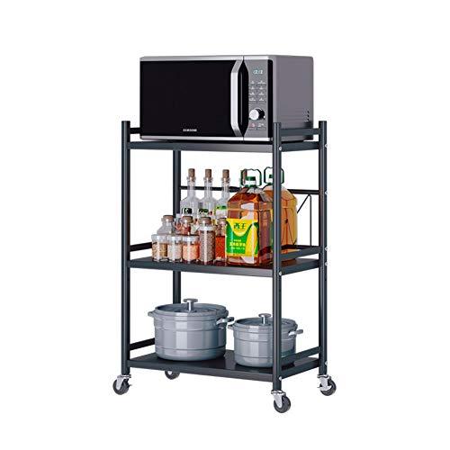 Plasaig - Estante de almacenamiento multifuncional para microondas con ruedas, soporte para microondas de carga pesada, organizador de almacenamiento de cocina (3 niveles L-41-65 cm)