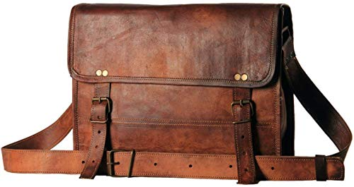 Surya_Leather Men's Auth Real Leather Messenger Bags Laptop Briefcase Satchel