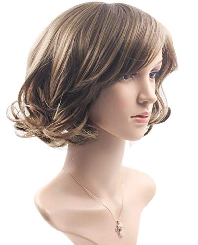 Fengcheng Harajuku Long Straight Heat Resistant Synthetic Fiber Wigs Glueless Wig Hair Wavy Lady, Short Linen Brown.