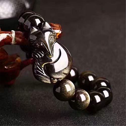Pulsera de riqueza Feng Shui Pulsera de amuleto de obsidiana de oro Pulsera de zorro de prosperidad Atraer la buena suerte Dinero Amor Amuletos Brazalete de jade Joya Regalo para hombres/mujeres,12mm