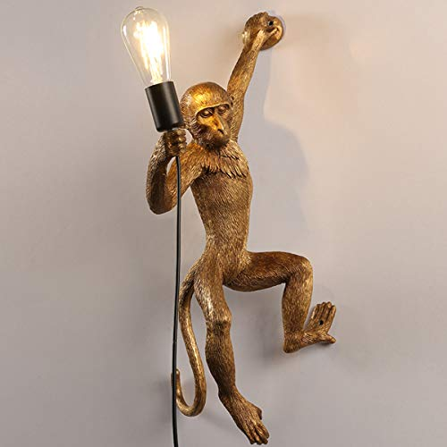 Wandleuchte Vintage, Hängend, Wandmontage, Kreative Design, inklusive Kabel und Stecker – Affenlampe, 35 * 20 * 75cm,Gold