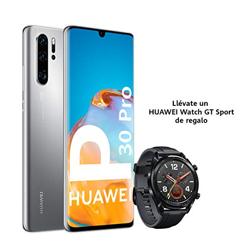 "Huawei P30 Pro New - Smartphone de 6.47"" OLED (Kirin 980, RAM de 8GB, Memoria Interna de 256GB, Cuádruple cámara Leica, Zoom MAX. 50X, Nuevo EMUI 10.1) Plata + Watch GT Sport"