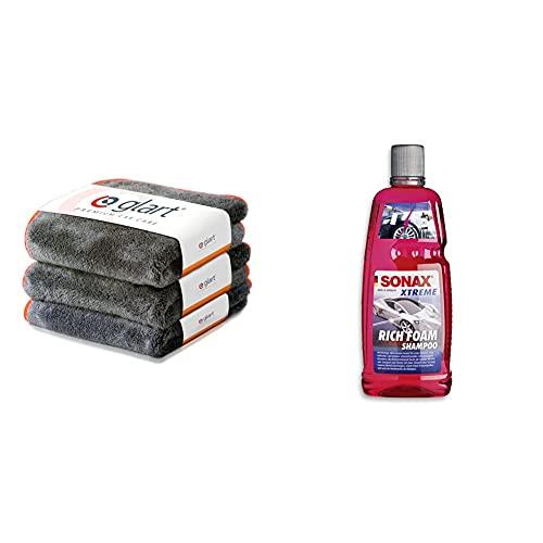 Glart 443TPO Premium Flausch 3er Set Mikrofasertücher mit 600 GSM, Poliertücher f. Auto und Motorrad 40 x 40 cm & SONAX Xtreme RichFoam Shampoo (1 Liter) Schaum-Shampoo / Snow Foam Shampoo