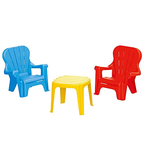 SOKA Set Of 2 Blue & Red Childrens Kids Indoor Outdoor Nursery Garden Chairs & Yellow Table
