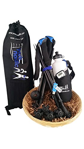 York Nordic 5 Piece Travel Pole Gift Set - Regular Size Travel Poles, Training Videos, Water Bottle, Pedometer, Travel Bag, and Accessories (Standard Length (5'4-6'5))