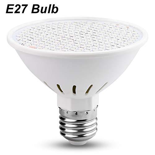 XiaoOu Led Grow Light Full Spectrum 3W 5W 7W 15W 20W Energy Saving Phyto Lamp E27 Double UV Plant for Garden Flower Seedling,EU Plug,Only E27 Bulb