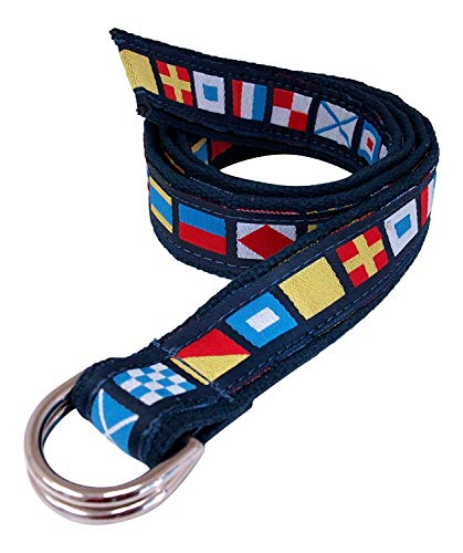 Skippers D-Ring Nautical Code Flags Belt on Navy Webbing, Silver D-Ring L (Pant Waist 38-40)