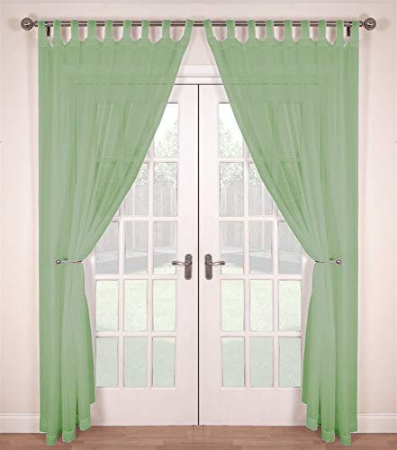 The Textile House Woven Voile Tab Top Net Curtain Panels - Pair (2 Panels) - 58' Wide x 54' Drop - Soft Green