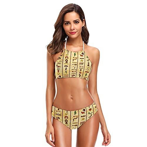 Mnsruu Cultura egipcia amarillo hombres mujeres mujeres halter bikini traje de baño cintura alta acolchado 2 piezas