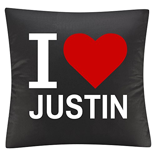 Almohada Cojín Classic I Love Justin Negro