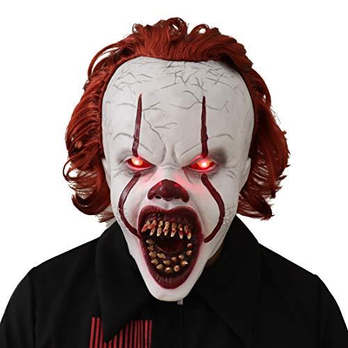 Bulex LED Light Creepy Scary Clown Mask Halloween Costume Prop (LED Light Up)