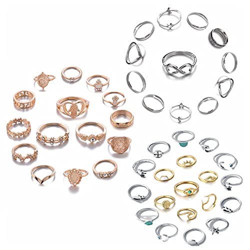 ZZ ZINFANDEL 46PCS Bohemian Joint Stackable Ring Set for Women, Star Moon Peak Sea Wave Feather Compass Turquoise Rhinestone Knuckle Rings Set for Teens Girls (A-46PCS)