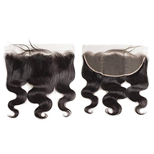 """13x6 Pre Plucked Lace Frontal Body Wave With Baby hair Brazilian Virgin Human Hair Frontal Closure With Bangs Knots Can Be Bleached (12"""", 13×6 Body Wave)"""