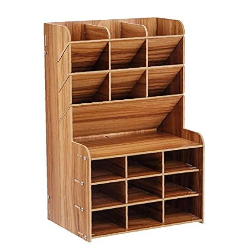 NIDONE Soporte de madera para lápices de escritorio multifuncional organizador de papelería caja de lápices para el hogar, oficina, escuela, suministros de almacenamiento