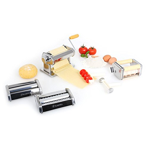 Klarstein Siena - Pasta Maker, Nudelmaschine, Pastamaschine, verchromter Edelstahl, Teigbreite 150 mm, Knetwalze verstellbar, Schneidwerkzeug, inkl. Teigschneider und Tischklemme, Silber