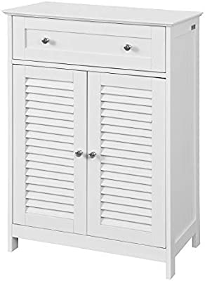 SoBuy FRG238-W Meuble Bas de Salle de Bain avec Tiroir et Cloison Amovible Meuble de Rangement Buffet Commode – Blanc