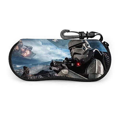 Funda de gafas de sol de Star Wars con funda protectora portátil, cremallera de viaje, funda de neopreno suave con clip para cinturón.