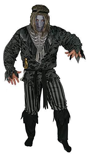 Foxxeo Geister Pirat Kostüm für Herren Halloween Fasching Karneval Skelett Kostüme Größe L