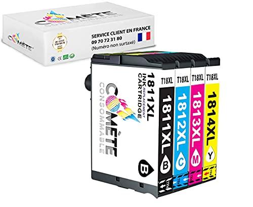 Juego de 4 cartuchos de tinta Premium compatibles T18XL 1811 1812 1813 1814 para impresoras Epson Expression Home XP100 XP102 XP200 XP202 XP205 -1 Negro + 1 Cian + 1 Magenta + 1 Amarillo