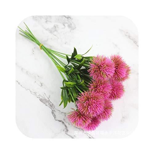 Fake Flower - Lote de 5 pompones artificiales artificiales con diseño de diente de león, bola redonda para decoración del hogar, boda, color rosa
