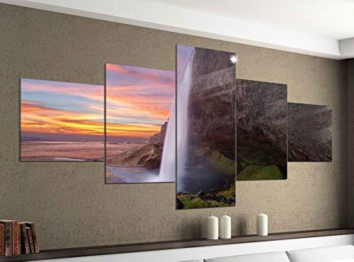 Acrylglasbilder 5 Teilig 200x100cm Wasserfall Island schöne Landschaft Druck Acrylbild Acryl Acrylglas Bilder Bild 14F1194