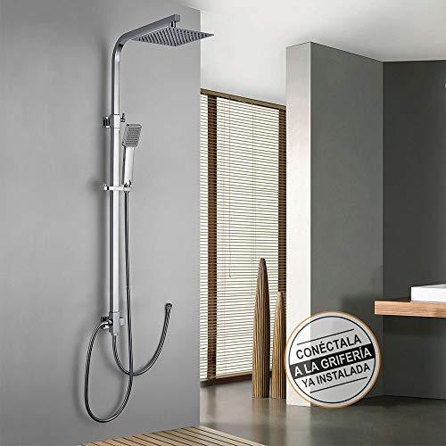 Columna de ducha SIN GRIFERÍA extensible de 80 a 120 cm. cuadrada extraplana. Se conecta a grifos de ducha estandar. Incluye desviador, 2 flexos de 60cm y 175cm, ducha de mano y rociador superior