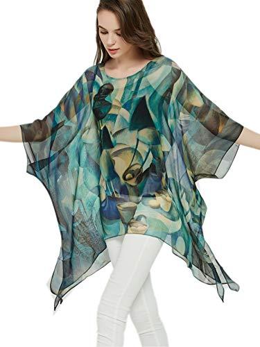prettystern Damen Seiden-Tunika Chiffon Poncho Sommer Bluse Strandkleid Überwurf abstrakte Kunst blau
