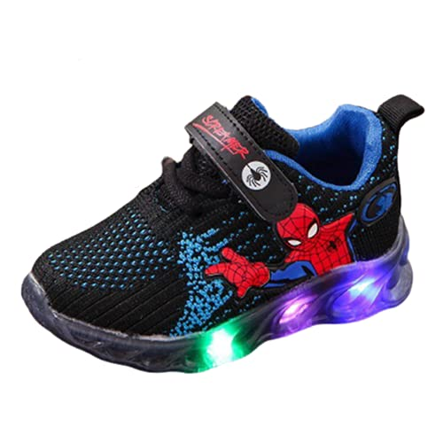 YICHUAN Zapatillas De Deporte Luminosas LED para Niños Chicas Chicos Spiderman Malla Zapatos para Correr Transpirables,Black-30EU
