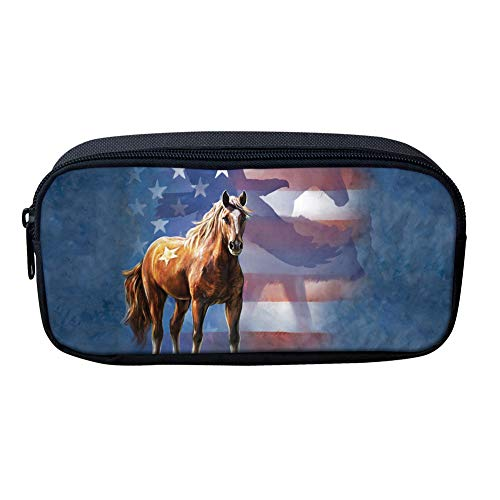 Showudesigns Teenager School Pencil Case School Supplies for Girls Horse British Flag Stationery Pens Pouch Big Coin Purse
