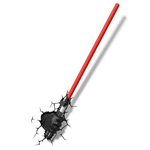 Star Wars Darth Vader Lichtschwert 3D Light FX LED Kinderlampe -Nachtlicht für kinder mit automatische Abschaltung und wandaufkleber