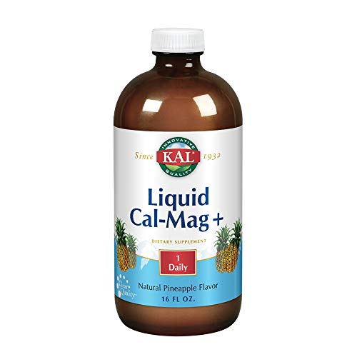 KAL Liquid Cal-Mag+ Vitamin D-3 | Natural Pineapple Flavor | Healthy Bones, Muscle & Heart Support | 30 Servings | 16 oz