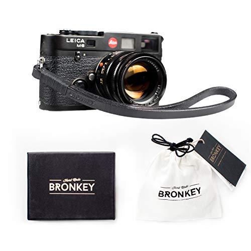 Bronkey Tokio 204 - Correa Cámara Compacta de Muñeca Mano Retro cámara Vintage Handmade Piel Cuero Original
