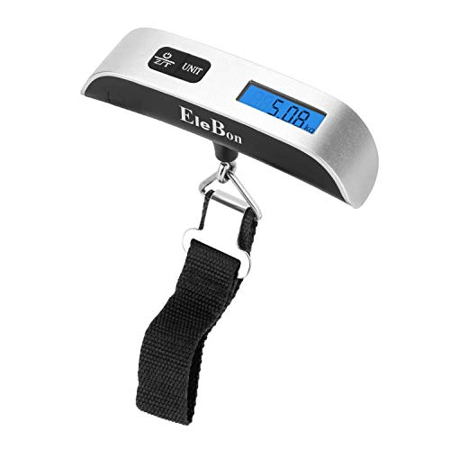 EleBon Luggage Scale, Travel Digital Scale with Backlight Display, 50KG/110 lb, with Auto-Off and Tare Function, Temperature Indicator, Battery CR2032(included)- 2 Year Warranty