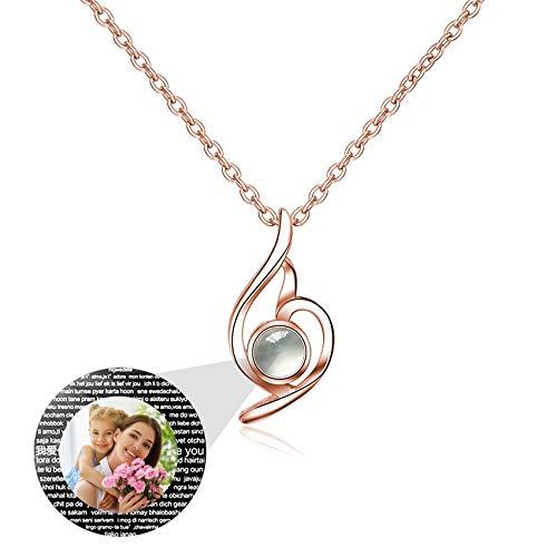 Collar Personalizado Colgante Collar Proyección Collar 100 Idiomas Collar De Foto Con Diamante Collar De Plata De Ley 925 Regalos Personalizados Para La Madre(Oro Rosa a Todo Color 22 ')