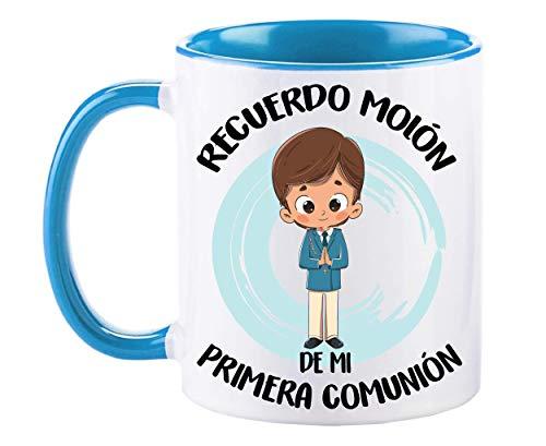 FUNNY CUP Taza Recuerdo molón de mi Primera comunión. Regalo Divertido para niño. (Azul)
