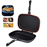 Double-sided BBQ Grill Pan,Portable Frying Pan Flip Non-stick Barbecue Cooking Tool Cookware Stove Anti-scalding Handle Skillet Cast Grill Frittata Pan for Indoor and Outdoor Cooked Chicken, Fish