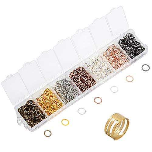 PandaHall about 700pcs 7 Colors Brass Open Jump Rings, 8mm Jewelry Connectors with 1pcs Jump Ring Opener for Earring Bracelet Jewelry Making