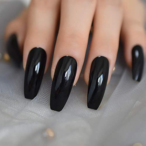 CSCH Faux ongles Extra Long Coffin Nails Noir Brillant Faux Ongles Longs Ballerina Nails pour Party Full Cover Artificial Tips avec Colle autocollant