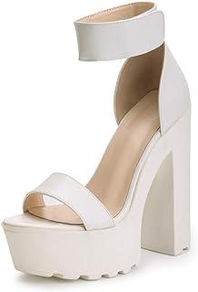 139e914afb9 OCHENTA Women s Fashion Platform Lug Sole Chunky High Heel Sandals