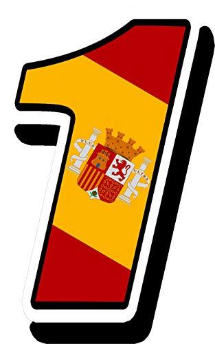 Biomar Labs® Número 1 Bandera Nacional España Spain Calavera Vinilo Adhesivo Pegatina Coche Auto Motocross Moto Sport Start Racing Tuning N 281