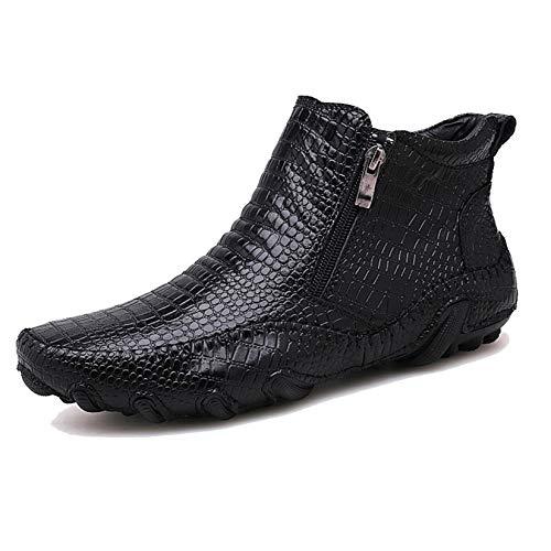 Botines Otoño Invierno al Aire Libre para Hombres Zapatos con Cremallera de Negocios de Cuero con patrón Dividido Calzado Vintage Zapatos usables
