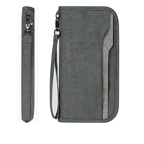 Zoppen RFID Travel Passport Wallet & Documents Organizer Zipper Case with Removable Wristlet Strap, Grey