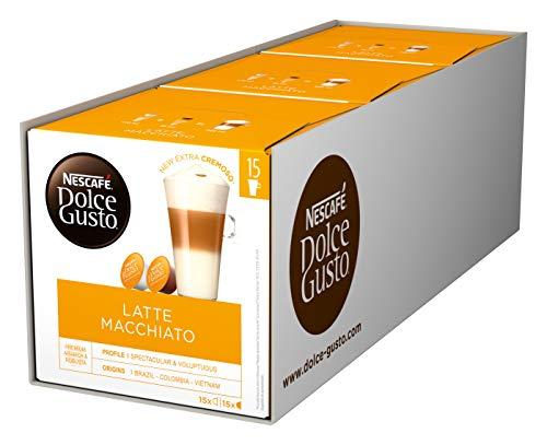 NESCAFÉ Dolce Gusto Latte Macchiato, XXL-Vorratsbox, 90 Kaffeekapseln, Aromatischer Espresso, 3-Schichten-Köstlichkeit aus feinem Milchschaum, Aromaversiegelte Kapseln, 3er Pack (3 x 30 Kapseln)