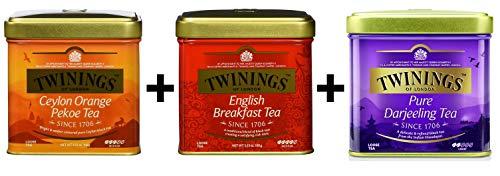 Twinings Schwarztee lose Dose 3er x100g Set ( Ceylon, English Breakfast, Darjeeling )