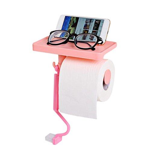 Milopon Toilettenpapierhalter Toilettenpapier Handtuch Box/Klopapierrolle Inhaber Kostenlos Punsch Wasserdicht Rollenhalter Chuck (Rosa)
