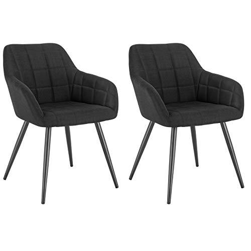 WOLTU® Esszimmerstühle BH107sz-2 2er Set Küchenstuhl Polsterstuhl Wohnzimmerstuhl Sessel mit Armlehne, Sitzfläche aus Leinen, Metallbeine, Schwarz
