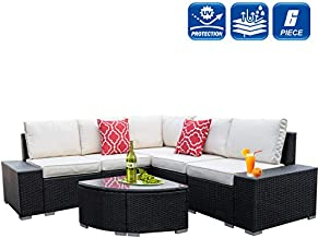 6 Pieces Outdoor Patio Furniture Sets, All-Weather PE Rattan Wicker Sofa Set with Comfortable Cotton Cushions and Glass Coffee Table, Sectional Furniture Set for Lawn, Backyard (Black Rattan)