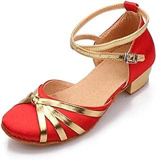 BEESCLOVER Girl&Women Soft Dancing Shoes 3.5CM Flat Heel Sandal Latin Waltz Dance Shoes Euro Size 24-38 XC-5124